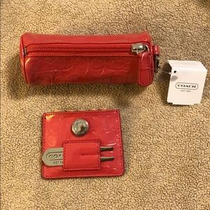 NWT Coach golf ball and tee set in coral
